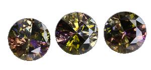 Zirkonia flerfärgad, 8 mm Opal/Applegreen/Yellow,Ametist med flera, brilliantslipad
