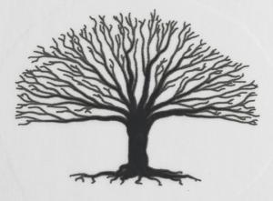 Dekal silvermetallic träd ca 2,5 x 3,3 cm