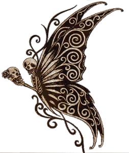Dekal silvermetallic  och svart, Fjäril med Dödskallar ca 7 x 4,5 cm.