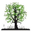 Dekal Grönt träd, ca 4 x 3,5 cm