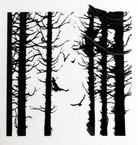 Dekal Fåglar i skog, ca 4x4 cm. Klicka på bilden för att se ett exempel.