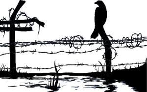 Dekal Fågel på stolpe, ca 3x4 cm. Klicka på bilden för att se ett exempel