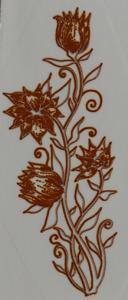 Dekal guldmetallic blomma ca 5x2 cm.