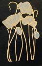 Dekal guld och vit, Vallmo ca 5 x 3 cm.
