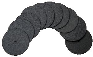 Slipa trådändar, kanter m.m. 10 stycken. En styv slipskiva med slipkorn på båda sidor