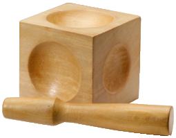 Formblock, Puckelanka, träblock med 5 olika kupoler och en stöt