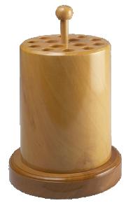 Sågbladshållare i trä. Ca 16 cm hög med fot, 11 cm i diameter. 14 hål.