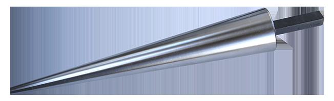 Mandrel i stål från 10 - 52 mm, 30 cm lång. Med fäste att sätta i arbetsbänk eller skruvstycke