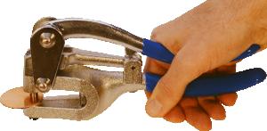 Håltagningstång för upp till 1,3 mm tjock silver, koppar eller mässingsplåt.