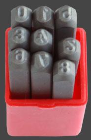 Stämpelset siffror 0-9, höjd på siffrorna 3,2 mm.