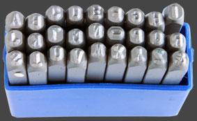 Stämpelset bokstäver A-Z, 27 st, höjd 3,2 mm