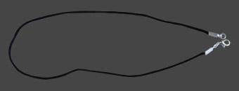 Halsband 50 cm svart band av nylon med försilvrat lås