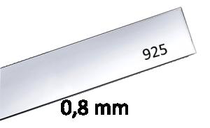 Sterling silverplåt 0.8 mm, 15 mm bred x 210 mm lång. lämplig för armband.