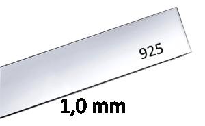 Sterling silverplåt 1.0 mm Välj bredd och längd. Pris inkl moms