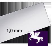 Silverplåt Argentium 935, 1,0mm. 213 mm längd. Välj bredd. Pris inkl. moms