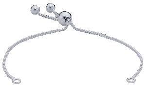 Armbandskedja med draglås och ringar för att fästa en dekoration. Se exempel, klicka på bil