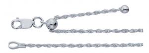 Kedja justerbar längd 55 cm eller kortare, 1,4 mm, replänk med lås. Sterlingsilver 925.