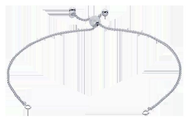 Armbandskedja med draglås och ringar för att fästa en dekoration. Sterlingsilver