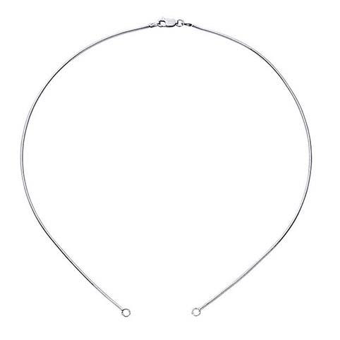 Halskedja med två avslut för två fästpunkter, Sterlingsilver 45 cm ( plus det som som smycket emellan tillför )