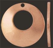 Koppar kupad cirkel 15 mm med stort och litet hål. Massiv koppar 1 mm tjock.