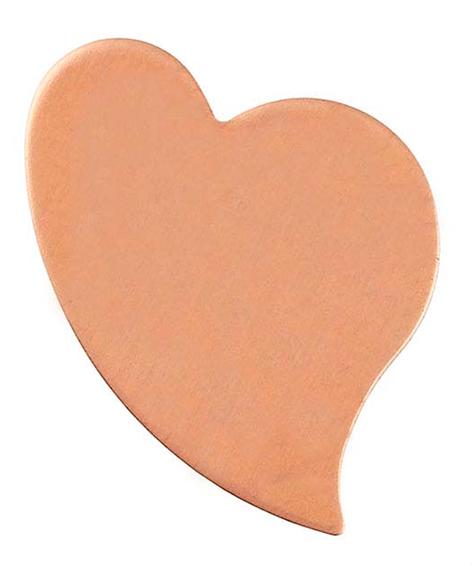 Koppar hjärta svängt 26x20mm. Massivt platt 1 mm tjockt.