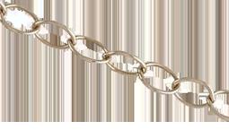 Bronskedja ovala länkar 2,2 mm. Säljs per 0,5 meter