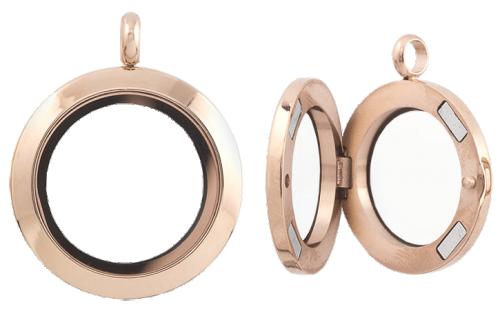 Hängsmycke med dubbla glas och öppningsbart, 25 mm , guld rosé finish