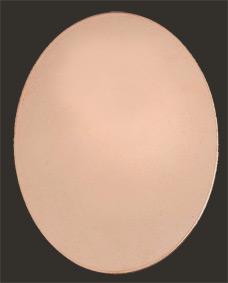 Koppar oval 46x36 mm flat, massiv koppar 1 mm tjock