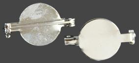 Brosch, 2 st,  platta med broschnål för att kunna limma på dekoration t.ex glas