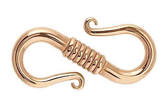 Lås brons S-krok, längd 15 mm, bredd 7,5 mm