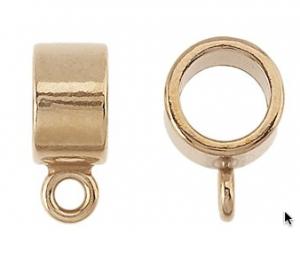 Brons ring med fästögla t.ex för läderrem. Öppning 5,6 mm