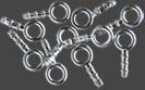 Fästögla 2,5mm, 4 st att sätta i silverleran. Hål 2,5 mm. Totallängd 8 mm.