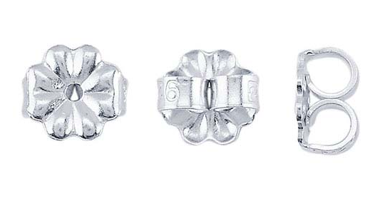 Snurrebuss / lås för örstick per par. Argentiumsilver. Är därmed hypoallergenisk (är inte orsak till allergireaktioner)