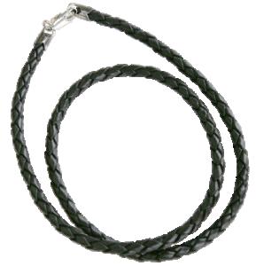 Halsband flätat äkta läder med silverlås. 4mm tjockt, 45 cm långt