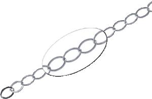 Kedja Sterlingsilver oval platt länk 6 mm. Säljs per 10 cm