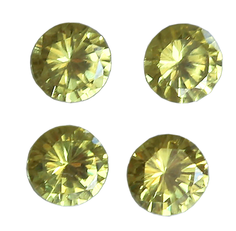 Zirkonia Peridot 3 mm 2st, rund facettslipad