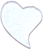 Täckglas Hjärta svängt, ca 3 cm brett