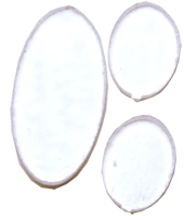 Täckglas till det ovala setet i tre delar. Stora ovalen ca 3,5 cm hög och de små 1,7 cm