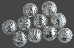 Filigrankulor 10st, 8 mm silverton. Priset är för 10 st.