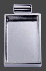 Hänge rektangel försilvrat ca 26 x 10 mm