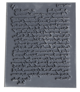 Gummimatta Love letter, 9 x 10 cm