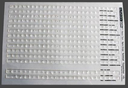 Stämpelmatriser 18 punkter (ca 5-6 mm) med 5 olika typsnitt.