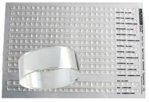 Stämpelset 12 punkters matris i 5 olika typsnitt och ring för att fästa bokstavsraderna på. (4,7 mm höga)
