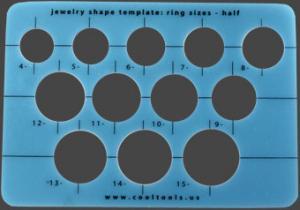 """Mall, ringar """"halvstorlekar"""" med cirklar som svarar mot ringstorlekars halvnummer"""