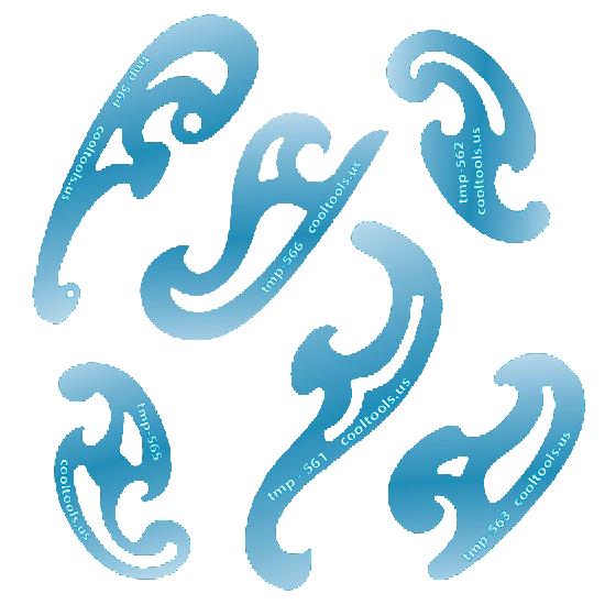 Mallar för franska kurvor, set om 6 mallar