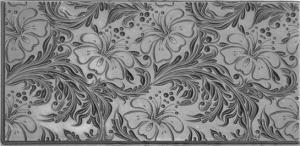 Gummimatta Hibiscus 10x5 cm. Negativt mönster