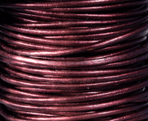 Läderrem 2 mm metallic Marron. Pris per meter.