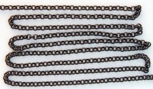 """Kedja """"rollo"""" matt svart 3 mm länk. Säljs per 1/2 meter."""