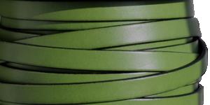 Läderrem 10 mm, 20cm Grön med svart kant. Platt ca 2mm tjock.