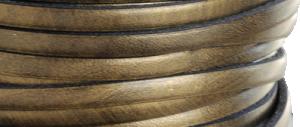 Läder 5 mm metallic bronze, 20 cm. Ca 2mm tjockt. Priset är per 20 cm
